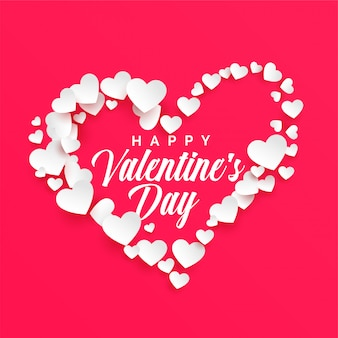 Happy valentines day background with white hearts frame