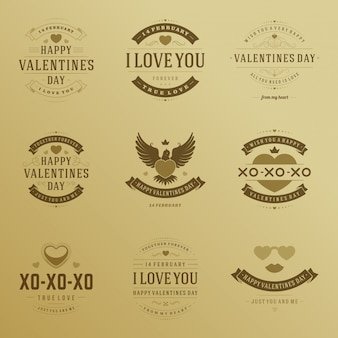 Happy valentines day badges typography design with decoration symbols vector design elements set