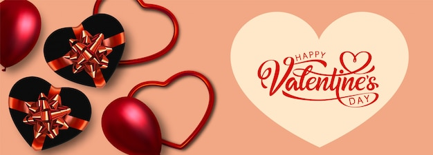 Happy valentines day banner .  illustration.