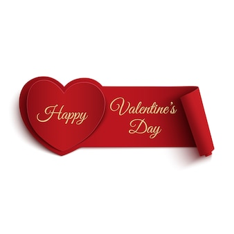 Happy valentines day banner isolated on white background.