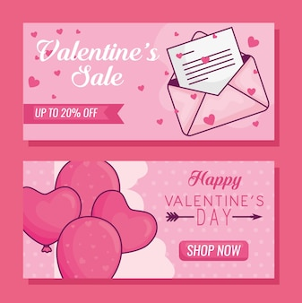 Happy valentines day banner set with hearts balloons and envelope