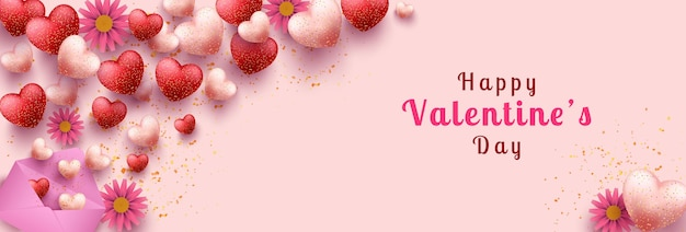 Happy valentines day banner template, with many beautiful hearts shape, open envelope and flowers
