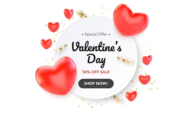 Happy valentines day banner with red hearts and serpantine isolated on white background