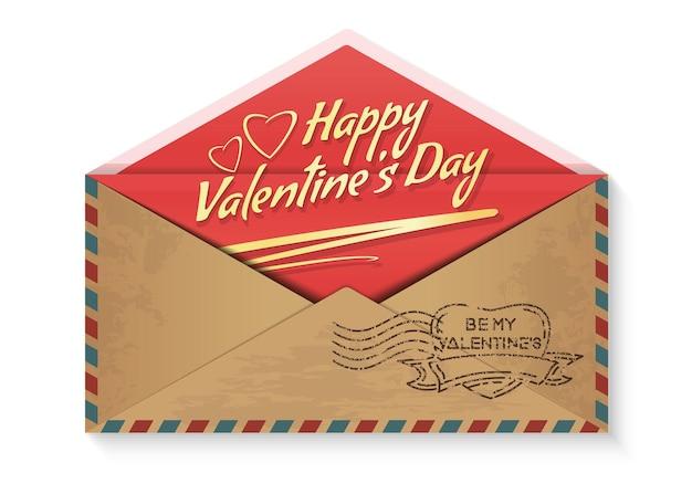 С днем святого валентина. будь моим валентином. любовное послание в конверте. романтический дизайн на день святого валентина. иллюстрация