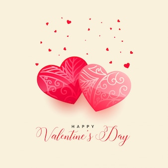 Happy valentines day beautiful hearts greeting