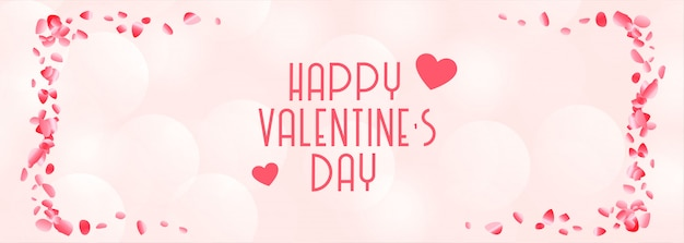 Happy valentines day beautiful pink and white banner