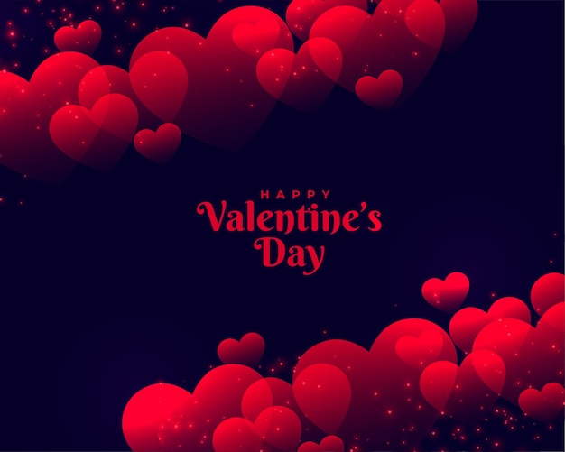 Happy valentines day beautiful red hearts background