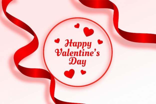 Happy valentines day beautiful ribbon and hearts background
