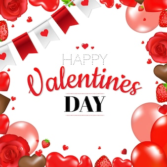 Happy valentines day border with hearts and ribbon with gradient mesh illustration