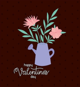 Happy valentines day and bundle of roses in a water can