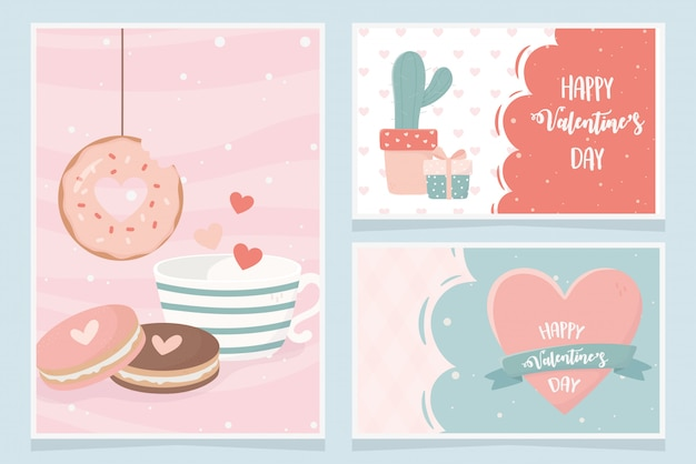 Happy valentines day cactus gift cookies donut heart love card set