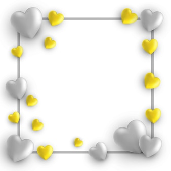 Happy valentines day card,frame with hearts on white with trend colors gray and yellow