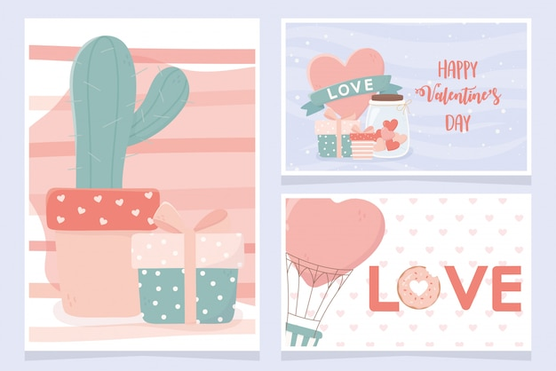 Happy valentines day card set cactus ifts heart air balloon set