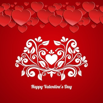 Happy valentines day card vector template with paper hearts and calligraphic floral pattern