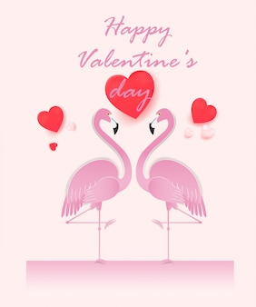 Happy valentines day card with couple flamingo.