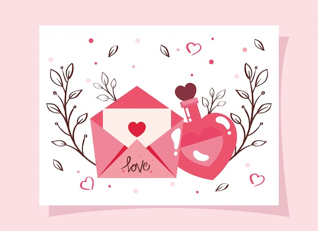 Happy valentines day card with fragrance and envelope