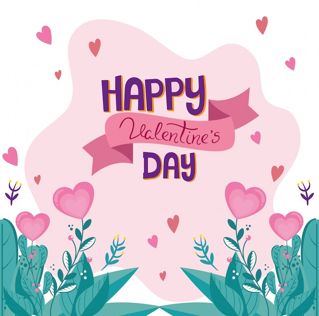 Happy valentines day card with leafs decoration