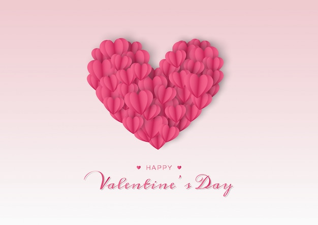 Happy valentines day card with paper heart