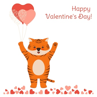 Happy valentines day card with tiger and air balloon surprise poster