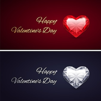 Happy valentines day cards with gems