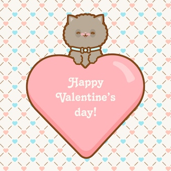 Happy valentines day cat with seamless pattern