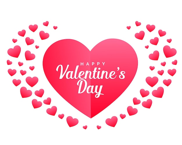 ハートで作った幸せなバレンタインデーのお祝いカード