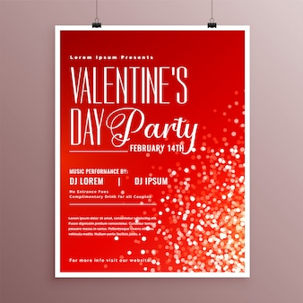 Happy valentines day celebration flyer template