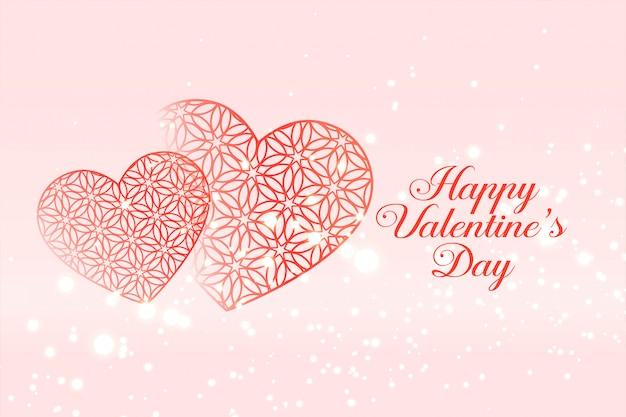 幸せなバレンタインデーのお祝いの心グリーティングカード