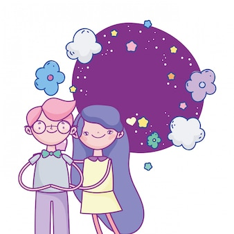 Happy valentines day, cheerful couple hugs flowers stars clouds romantic illustration
