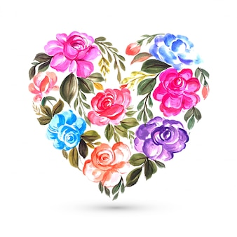 Happy valentines day colorful flower greeting card with heart