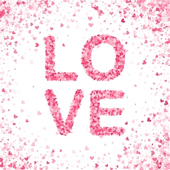 Happy valentines day concept. heart pink confetti splash.