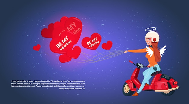 Happy valentines day concept woman cupid riding retro motor bike holding heart shaped air balloons