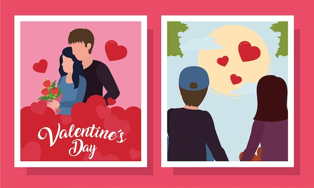 Happy valentines day couple in cards of love passion and romantic theme