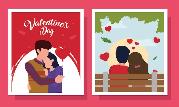 Happy valentines day couple in cards set of love passion and romantic theme
