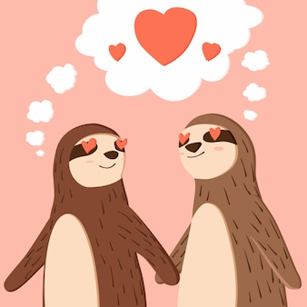 Happy valentines day of couple sloth holding hands