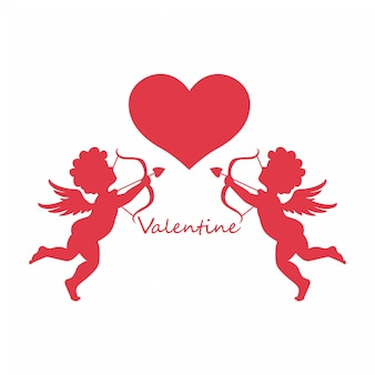 Happy valentines day,cupid angels with heart