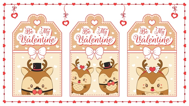 Happy valentines day cute baby animal deer drawing brown cards with hearts frame