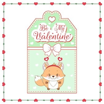 Happy valentines day cute baby fox drawing card
