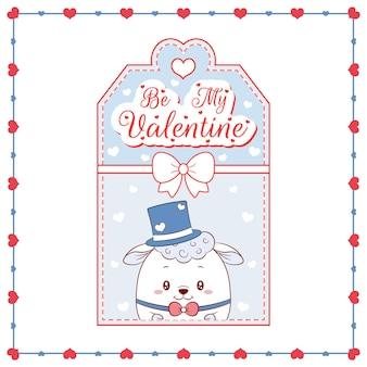 幸せなバレンタインデーかわいい赤ちゃん羊の描画カードタグ