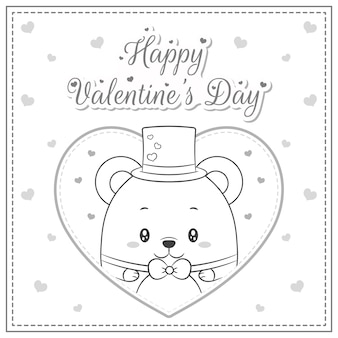 Happy valentines day cute baby teddy bear in big heart sketch for coloring