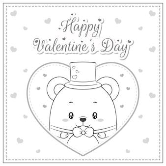 幸せなバレンタインデーのかわいい赤ちゃんのテディベアの大きなハートのスケッチを着色する