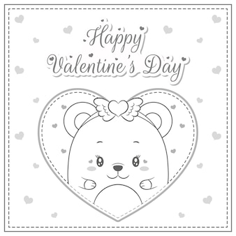 С днем святого валентина милый ребенок плюшевый мишка в большом сердце эскиз для раскраски