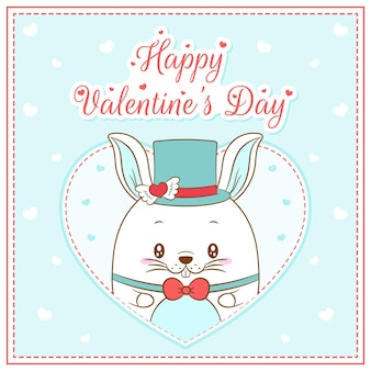 Happy valentines day cute bunny boy drawing post card big heart
