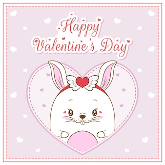 Happy valentines day cute bunny girl drawing post card big heart