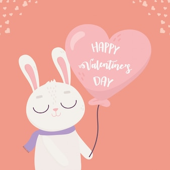 Happy valentines day, cute bunny with balloon shaped heart love