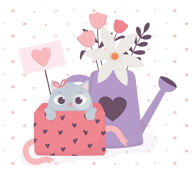 Happy valentines day cute cat in gift box and watering can with flowers love hearts