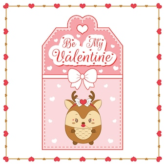Happy valentines day cute deer drawing card tag