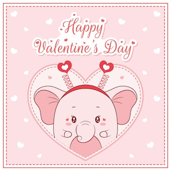 Happy valentines day cute elephant girl drawing post card big heart