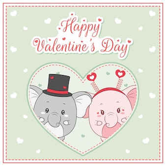 Happy valentines day cute elephants drawing post card big heart