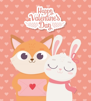 Happy valentines day, cute fox with envelope letter and rabbit with scarf and hearts decoration